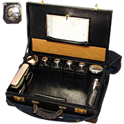 """Antique French 18"""" Travel Case, Sterling Silver & Original Tools"""