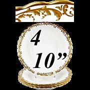 """Rare Antique Minton Raised Gold Enamel 10"""" Soup Plates, Set of 4"""
