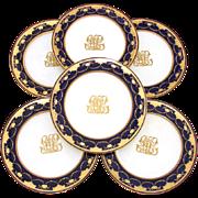 "Set of Six Antique Minton 10"" Dinner Plates, Cobalt & Thick Raised Gold Enamel"