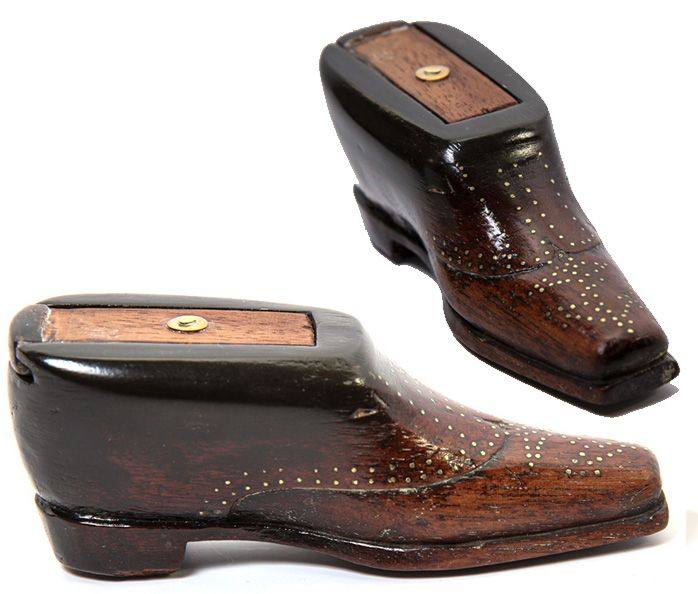 Antique French Shoe Snuff, Boot Snuff Box, Pique Trim & Sole