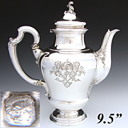 """Gorgeous Antique French Sterling Silver 9.5"""" Coffee or Tea Pot, circa 1896"""