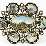 Antique French Paris Expo Grand Tour Souvenir Tray, 7 Eglomise Views of Monuments, c.1889