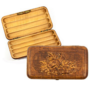 Fabulous Antique Carved Wood Black Forest Hunt Theme Cigar Case, 2 Hare or Rabbits