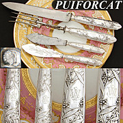 Antique French PUIFORCAT Sterling Silver 4pc Serving Implement Set: Meat & Cheese Service