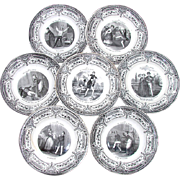 "Antique 7pc French Cabinet Plate Set, ""Pleasures of Household"""