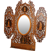 """SALE RARE Huge Antique Italian Sorrento 16.5"""" Sheet Music Stand, Mirror, Figural & Marquetry ..."""