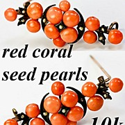 Antique Victorian 10k Brooch, Red Coral and Seed Pearls