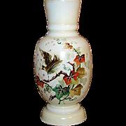 """Antique Victorian Era Opaline 11"""" Vase, Painted Bird & Foliage"""