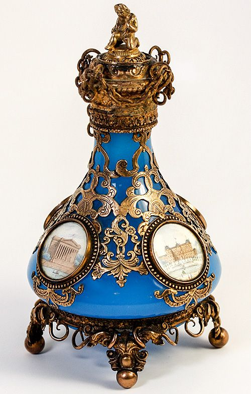 "Superb 7"" Tall Paris Grand Tour Souvenir Eglomise & Opaline Dore Ormolu Perfume Bottle, Flask"