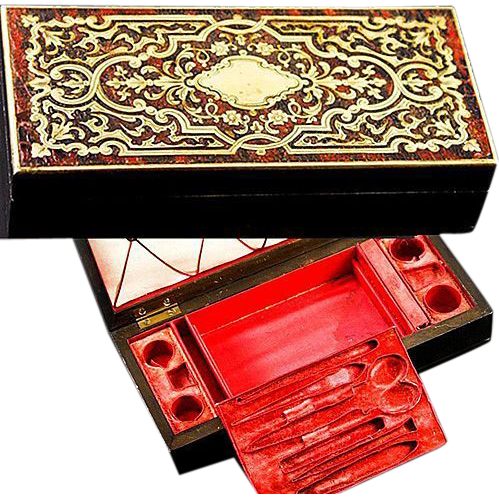 Antique French Boulle Sewing Box, Etui, Fitted Casket