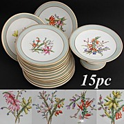Gorgeous Antique 15pc Porcelain Fruit or Dessert Service: Hand Painted Bell Flowers, Three Raised Plateaus