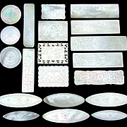Antique Napoleon III Era Chinese Import 20pc Mother of Pearl Game Chips, Engraved Tokens