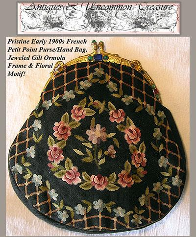 1920s French Antique Needlepoint Hand Bag/Purse, Jeweled Frame
