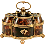 BIG Charles X Antique French Palais Royal Faux Tortoise Shell & Ormolu Casket - Tortoiseshell