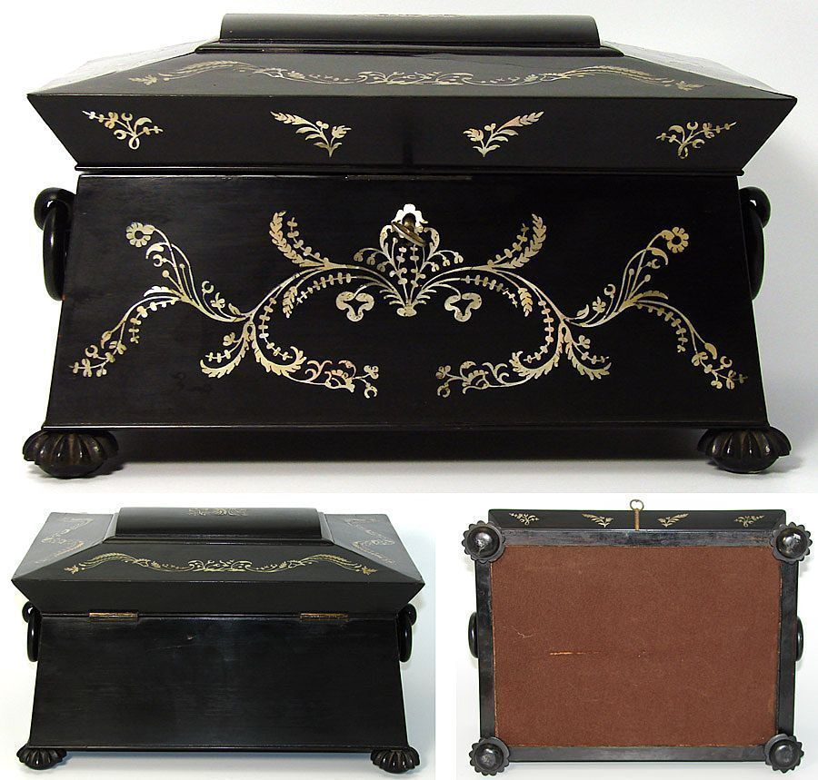 Antique 1820s French Ebony & Pearl Sewing Box, Sarcophagus