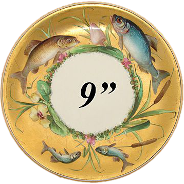 """Antique Minton 9"""" Cabinet Plate, Gold with Hand Painted Fish, Flowers & Cattails!"""