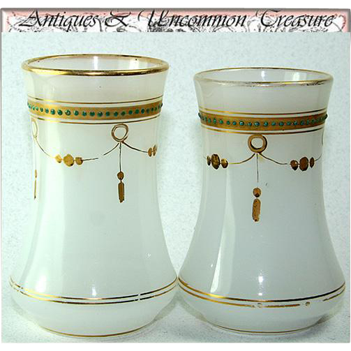 Rare Antique French Charles X White Opaline Wine Cup or Timbale Pair