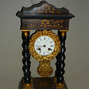 19thc French Napoleon lll  Marquetry Clock