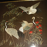 Large Hand Sewn  Crewel Work Of Herons