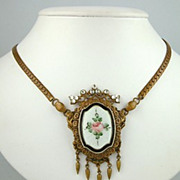 Edwardian Guilloche Floral Necklace