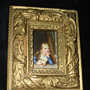 Miniature Porcelain Painting Young Girl