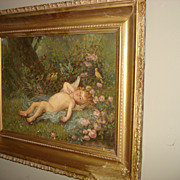 Painting of Cupid and Birds Signed Griffith
