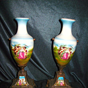 French Porcelain Ormolu Urns