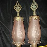 Rose Bronze Art Nouveau  Mantle Lamps