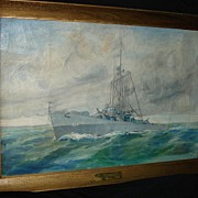 Large Painting of Battleship Destroyer 1944 USS Eversole De 404