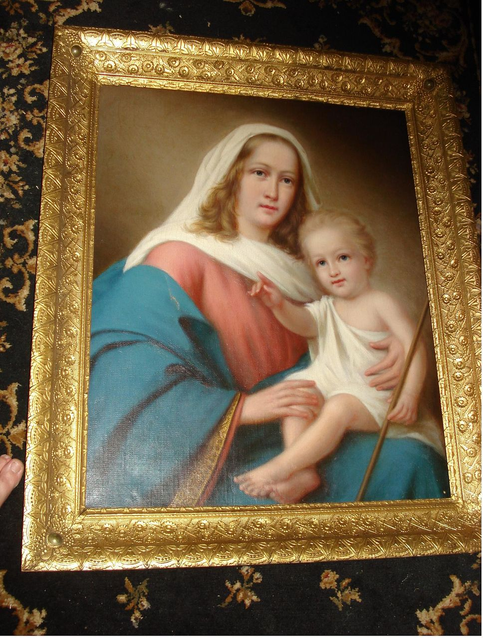 c19th Italian Oil On Canvas Madonna and Christ Child