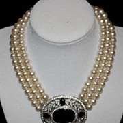 Panetta Faux Pearl and Ebony Necklace