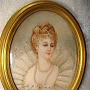 Miniature French  Portrait Of Maria De Medici