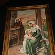 "Large French Religious Genre ""Holy Family"" Oil on Canvas"