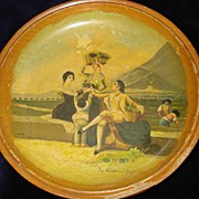 "Wooden Hand Painted Spanish Bowl Signed ""Goya"""