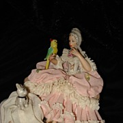 Dresden Lace Figurine Woman With Dog And Parrot
