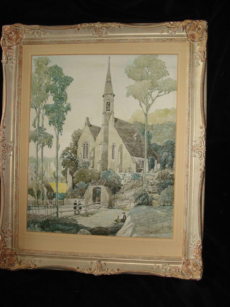 European Exterior Painting Of Church