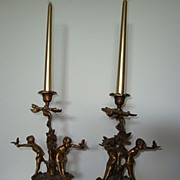 French Bronze Cupid Candleholders c 19th