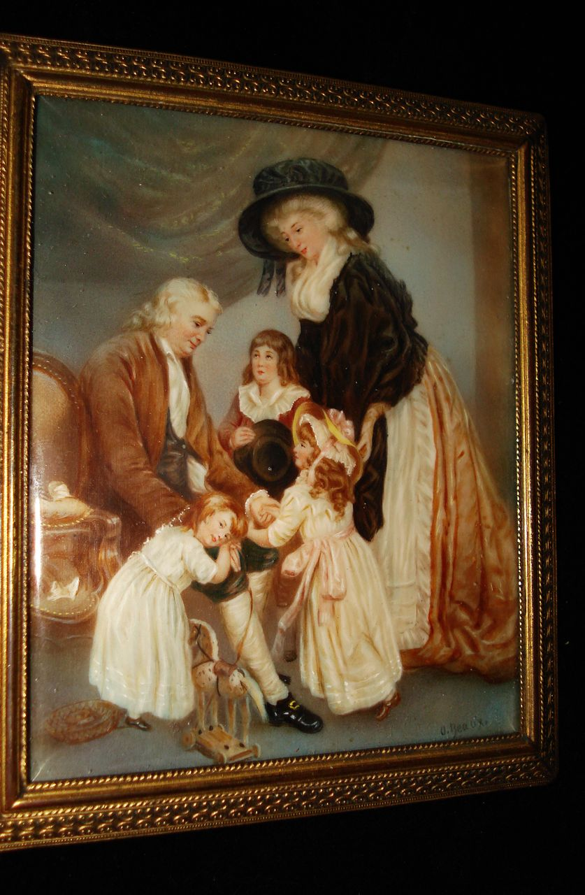 French Miniature Rare Painting Of Marie Antoinette and Family