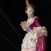 Dresden Frankenthal Porcelain Lace Gowned Lady Figurine