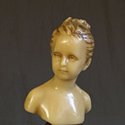 French Hand Sculpted Wax Figure of A Young Girl