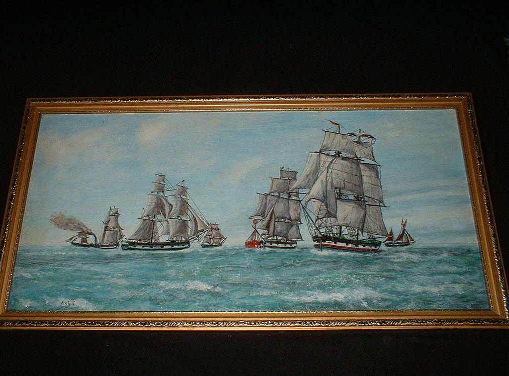 Vintage Oil On Board Fleet Of Tall Ships At Sea c1945