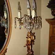 Vintage Bronze Cherub Electric Candelabra