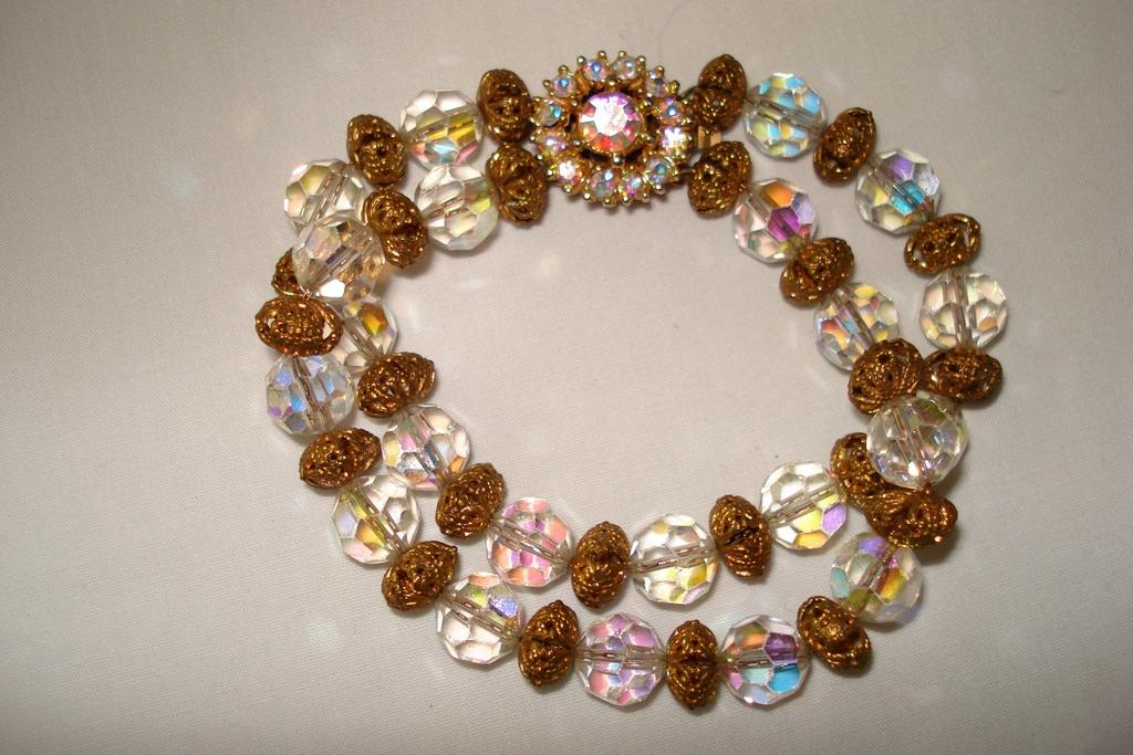 Retro Clear Crystal Bracelet Signed