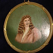Miniature Portrait Oil On Wood Of 17th Century Moliere c19th