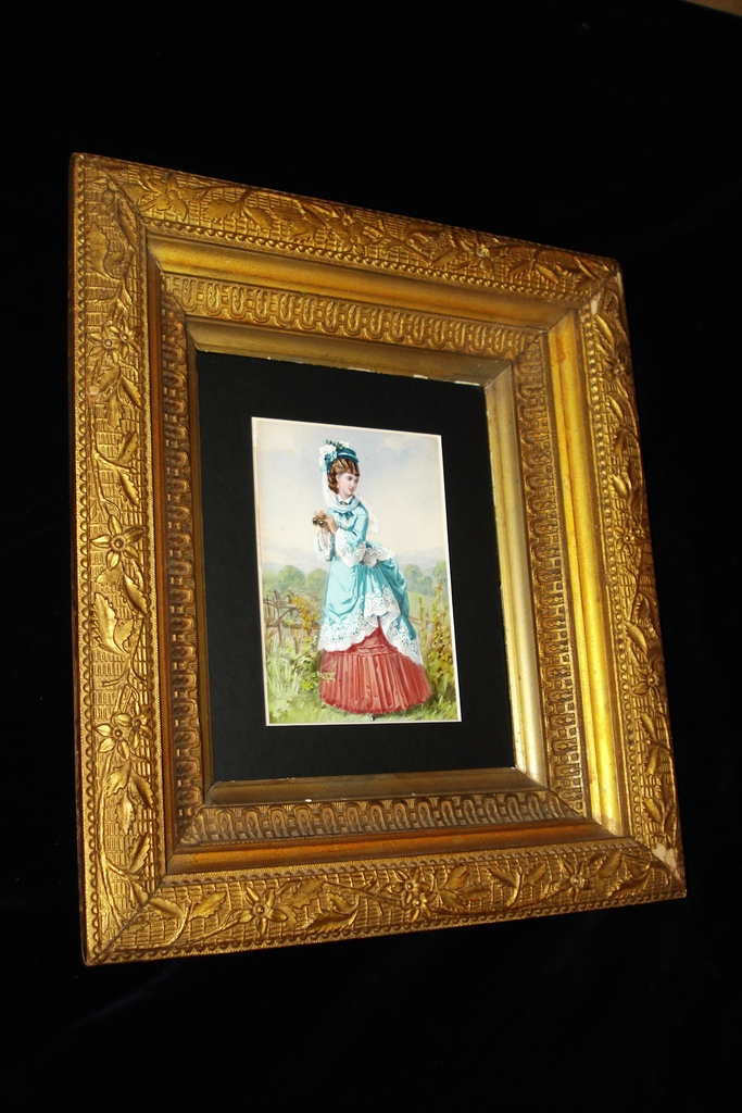 French Water Colour Painting On Card Woman In Garden c19th