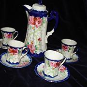 Nippon Porcelain Cobalt Chocolate Pot and 4 Cups c19th