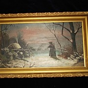 Painting Of The Visitor Oil On Board c19th