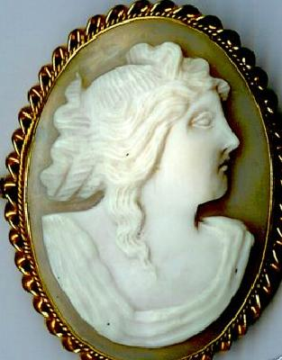 Large Hand Carved Shell  Europeon Cameo Of A Woman c19th