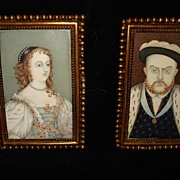 Georgian Miniature Paintings King Henry Vlll and Elizabeth l