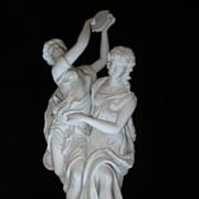 Neo Classical Parian Porcelain Tambourine Dancers c1900